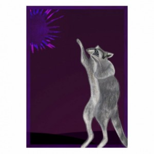 Raccoon Art Print- Reaches Through Space for Supernova