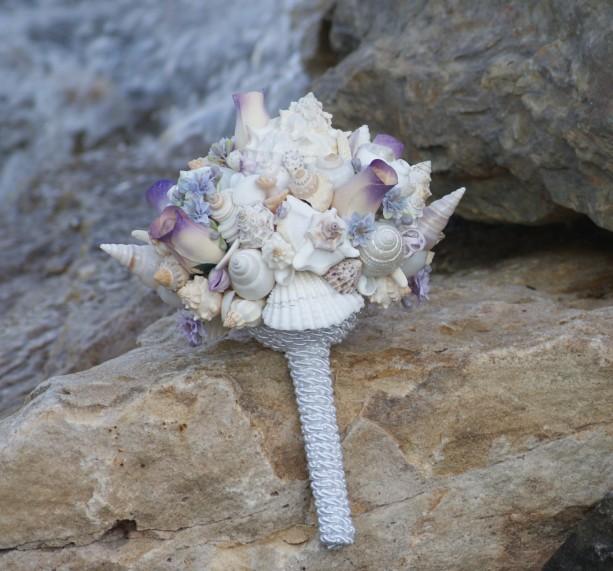 The Lilac Purple Beach Bride Bouquet A Seashell Bridal