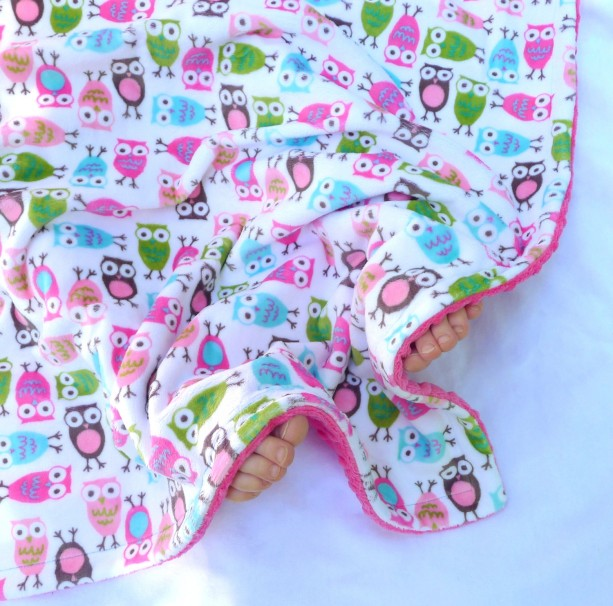 Baby Blanket, Minky Baby Blanket, Owl Baby Blanket- Fuschia, Pink, Brown, Aqua, Jade Green Baby Blanket for Your Baby Girl