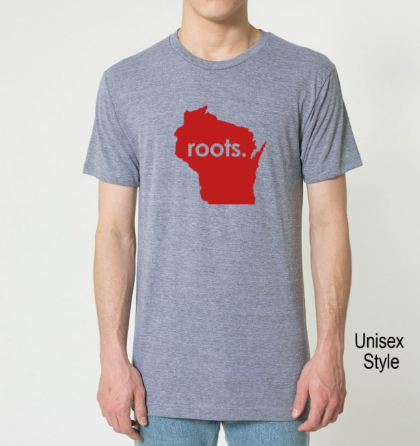 RED SERIES Wisconsin WI  Roots or Made Tri Blend Track T-Shirt - Unisex and Juniors Sizes