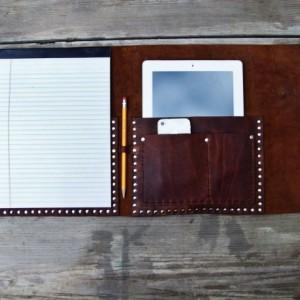 Leather iPad portfolio case by Bret Cali notebook iPad work portfolio apple ipad case notepad business iphone Handmade