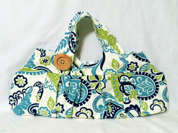 White,  Green and Blue Floral and Paisley Purse
