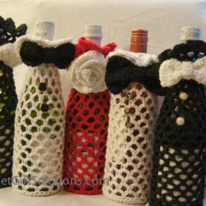 Tuxedo Wine Bag, Wine Bottle Bag, Wine Gift Bag, Crocheted Gift Bag, Unique Gift Bag, Crocheted Tote Bag, Wine Tote Bag