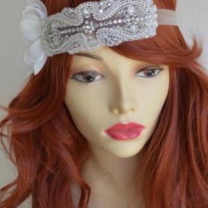 READY TO SHIP, Ivory Petals Rhinestone headband, Petal boho headband, Art Deco headband, Swarovski crystals, rhinestones, beading, Bridal