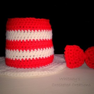 crochet dr sues hat and matching bow tie / handmade / stripes / hat / halloween / photo prop