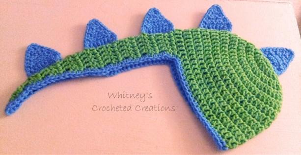 Crochet Dinosaur Hat Handmade Bow Spikes Crocheted Phot