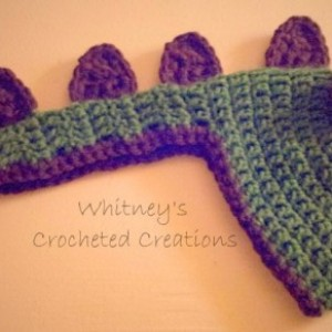 crochet dinosaur hat / handmade / bow / spikes / crocheted / photo prop