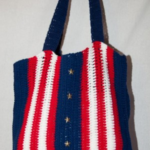 Americana Tote Bag, Patriotic Tote Bag, Crocheted Tote Bag, Book Bag, School Bag