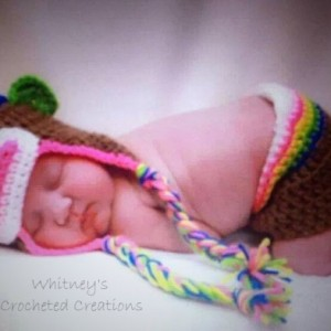 crochet rainbow sock monkey set , handmade , crocheted , rainbow , photo prop , hat, earflap , diaper cover , booties , slippers , shoes