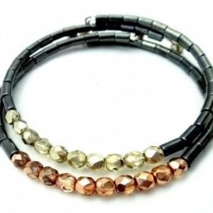 Copper Boho Bracelet, Trendy Teen Bracelet, Copper Hematite, Casual Chic Bracelet, Simple Chic Bracelet, Womens Hematite, Copper Memory Wire