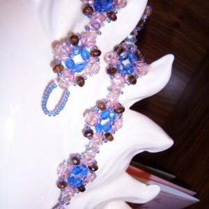 SALE 10 BUCKS OFF Pink Beaded Flower Pattern Crystal Czech Glass Bracelet