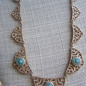 Gold Bib Statement Turquoise Necklace