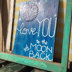 Love you to the moon and back painting and string art combo