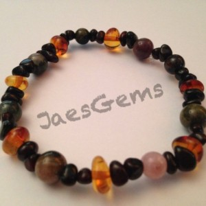 Baltic Amber and Tourmaline Healing Bracelet