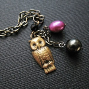 Owl Charm Necklace Bird Jewelry Black and Purple Pearl Necklace