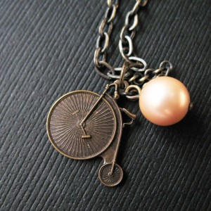 Penny Farthing Necklace Bicycle Charm Pearl Necklace Vintage Inspired Jewelry