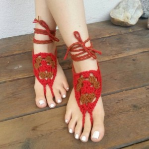 Crocheted Barefoot Sandals - Yoga Shoes - Handmade Sandals - Crocheted Shoes - Yoga Sandals - Hippie Sandals - Barnyard