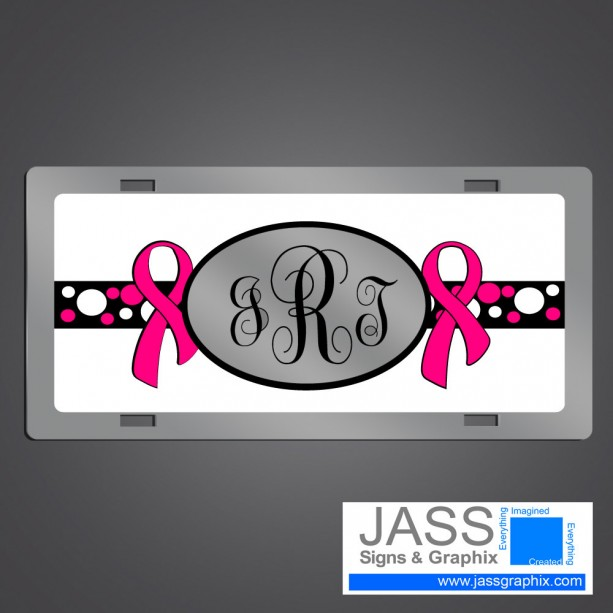 Breast Cancer Awareness Monogrammed License Plate with Pink Ribbon