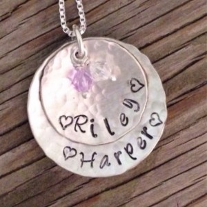 Pendant hand stamped sterling layered discs swarovski crystal birthstones- Moms jewelry