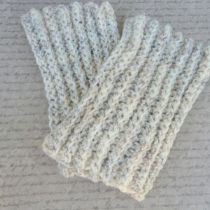 Hand Knit Boot Cuffs, Faux Leg Warmer, Ivory Knit Boot Topper, Wool Boot Sock