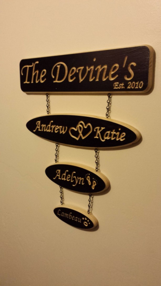 Custom Hand Made Hanging Wood Family Name Sign Aftcra