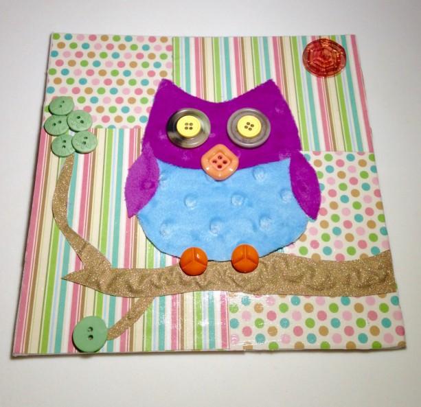 On Canvas Owl Nursery Decor Multi Media Art Whimsical Wall Ooak Baby Gift