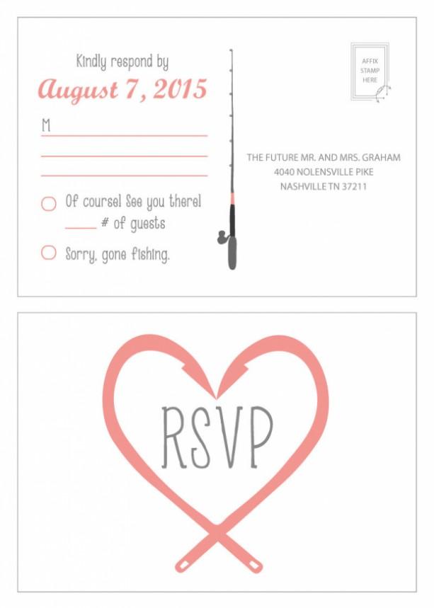 Gone Fishing Wedding Invitation And Rsvp Postcard Modern Design Printable Or Printed Envelopes