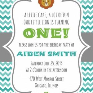 Little Lion Birthday Invitation with Envelope - Printed or Downloadable - Modern Design - Chevron Pattern - Fun - Lion Illustration - Custom