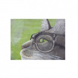 Tabby Cat Wall Art Print in Glasses Vintage Style