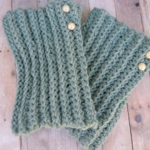 Hand Crochet Boot Cuffs, Seafoam Green Wool Boot Topper, Faux Legwarmers Sock Tops Knit Leg Warmers Boot Warmers