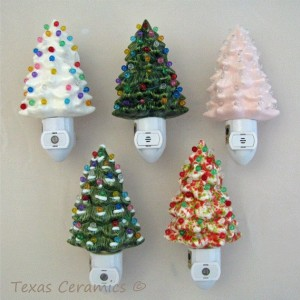Soft Pink Ceramic Christmas Tree Night Light With Sensitive Automatic Fixture