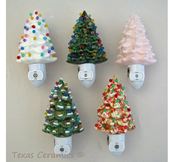 soft pink ceramic christmas tree night light with light sensitive automatic fixture - Christmas Tree Night Light