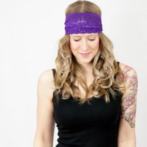Wide Purple Lace Headband, Royal Purple Aubergine Hair Band, Stretchy Hair Accessory, Yoga Crossfit Head Band