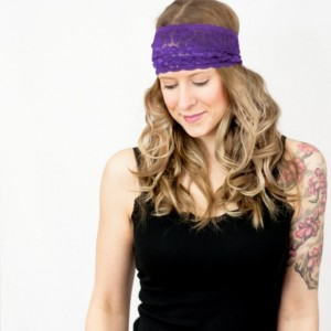 Wide Purple Lace Headband, Royal Purple Aubergine Hair Band, Stretchy Hair Accessory, Yoga Crossfit Head Band