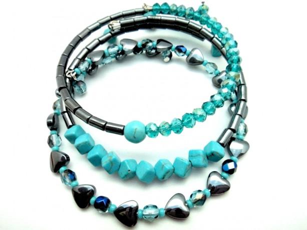 Teal Chic Bracelets, Trendy Teen Bracelet, Teal Memory Wire, Teal Hematite, Simple Wrap Bracelet,Casual Chic Bracelet,Teal Boho Bracelet