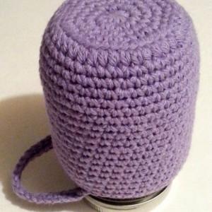 Crochet mason jar cozy, jar cover, cover with handle, cozy with handle - lavender