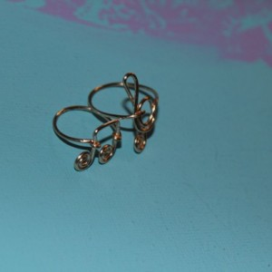 Gold Music Note Rings, Set of Two Music Note Rings, Treble Clef Ring, Music Note Ring