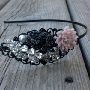 Fancy Metal Headband, Adult Womens Head Band, Sparkly Hair Accessory, Black Embellished Headband