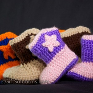 Cowboy Baby Booties with Stars, Western Baby Booties, Star Baby Booties