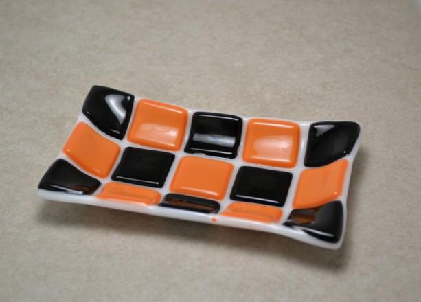Orange and Black Halloween Mosaic fused glass soap dish.