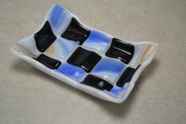Blue black and tan Mosaic fused glass soap dish.
