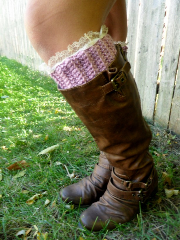 Vintage Ivory Lace Top Boot Cuffs, Radiant Orchid Crochet Boot Topper, Pink Faux Legwarmer