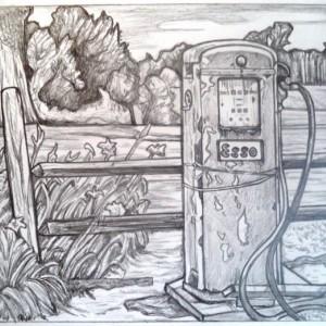 Vintage Esso gas pump drawing