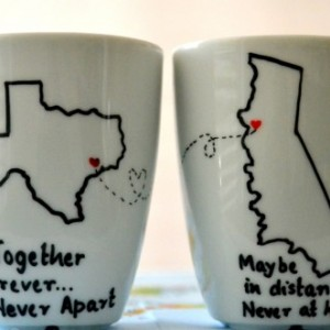 Long Distance Relationship Mugs  State To State Coffee Mug Set O