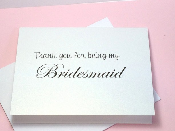 Bridesmaid Thank You Card Thank You For Being My Bridesmaid Card