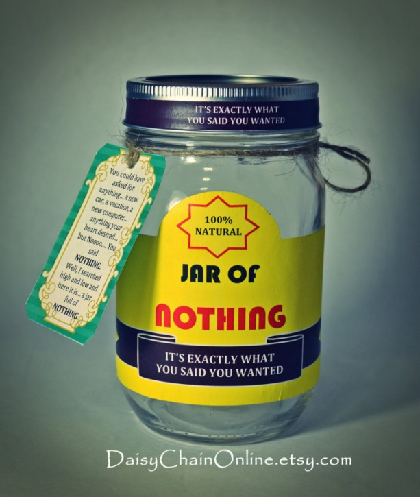 "Printable Labels for DIY ""Jar of Nothing"" - DIY Gag Gift for Boyfriend,"