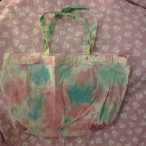 Large Tie Dye Pink/Blue Canvas/Cotton Tote Bage