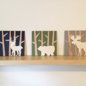 Woodland Animal Set on Wood, Woodlsnd Nursery Art, Animal Silhouette Art, Moose Wall Art, Deer Decor, Bear Painting, Buck Art, Boys Wall Art