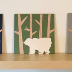Woodland Animal Set on Wood, Woodlsnd Nursery Art, Animal Silhouette Art, Moose Wall Art, Deer Decor, Bear Painting, Buck Art, Boys Wall Art