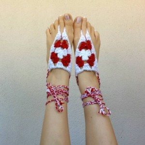 Crocheted Barefoot Sandals - Yoga Sandals - Handmade Sandals - Hippie Sandals - Yoga Wear - Hippie Sandals - Christmas Calves